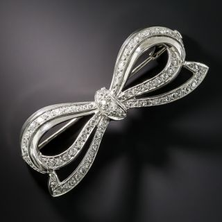French Platinum Diamond Art Deco Bow Brooch