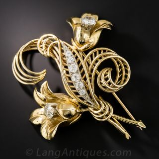 French Mid-Century Diamond Flower Pin