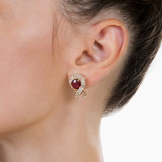French Ruby and Diamond Earrings