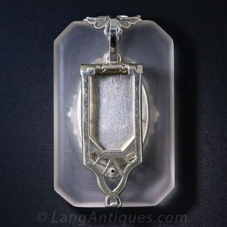 Frosted Crystal and Diamond Intaglio Goddess Brooch