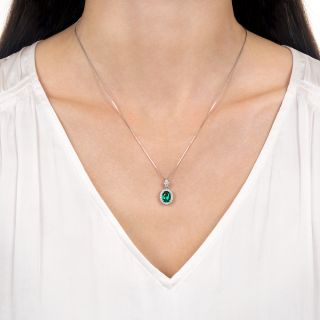 Gem 1.11 Carat Oval Emerald and Diamond Halo Necklace - No Clarity Enhancement