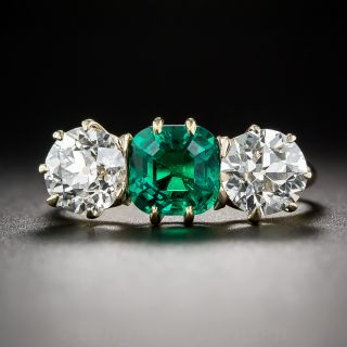 Gem 1.30 Carat Colombian Emerald and Diamond Ring - 2