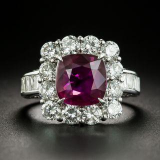 Gem 3.00 Carat No-Heat Cushion-Cut Ruby Diamond Ring - GIA - 1