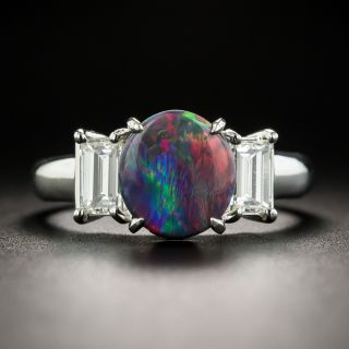 Gem Black Opal and Diamond Ring  - 1