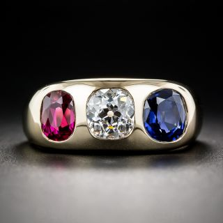 Gemmy Diamond, Sapphire and Ruby Three-Stone Ring - 1