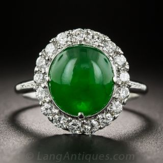 Gemmy Natural Jade Platinum and Diamond Ring
