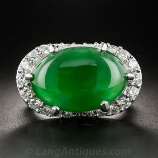 Gemmy Natural Jadeite Burma Jade Platinum Diamond Ring