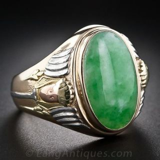 Gent's Four-Color Gold Jade Ring