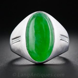 Gent's Jade Cabochon and Diamond  Ring