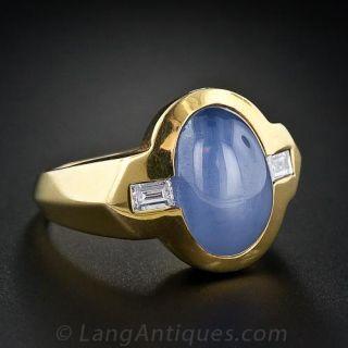 Gent's Star Sapphire and Diamond Ring
