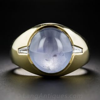Gent's 14 Carat Star Sapphire 18k Gold and Diamond Ring