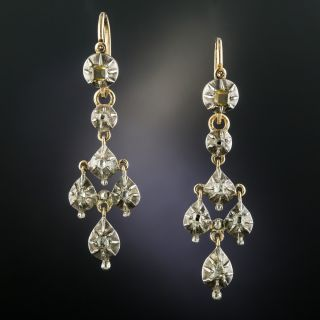 Georgian Day and Night Diamond Drop Earrings  - 2