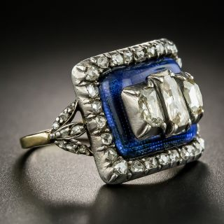 Georgian Diamond and Blue Glass Ring