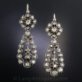 Georgian Diamond Drop Earrings - 2