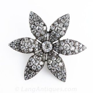Georgian Diamond Flower Brooch