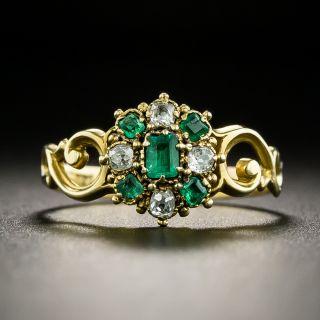 Georgian Emerald and Diamond Ring - 2