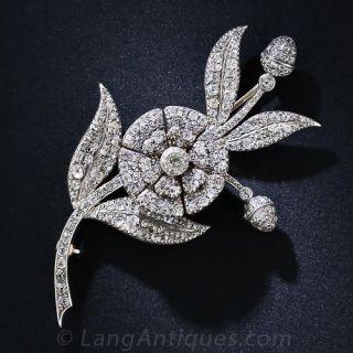 Georgian 'En Tremblant' Diamond Flower Brooch - 1