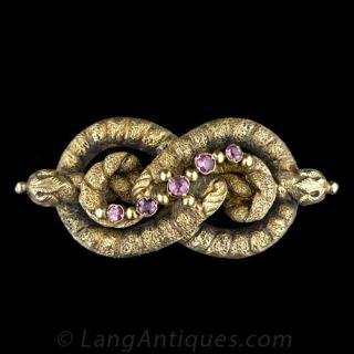 Georgian Garnet Lovers' Knot Pin