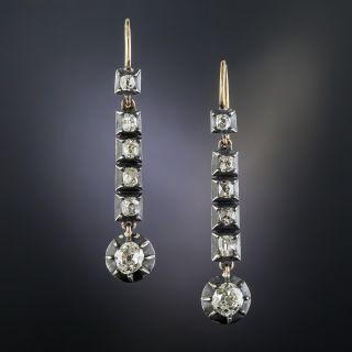 Georgian Long Diamond Drop Earrings - 1