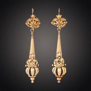 Georgian Long Drop Earrings - 2