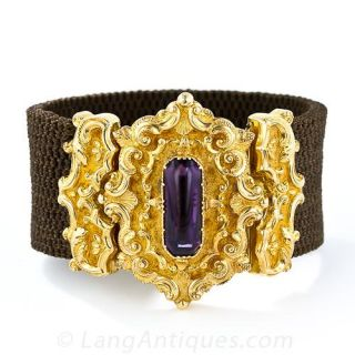 Georgian Mourning Bracelet with Amethyst , c.'1828' - 1