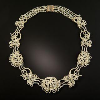 Georgian Seed Pearl Garland Necklace - 2