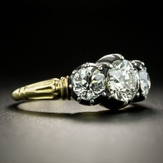Georgian Style 1.03 Carat Center Diamond Three-Stone Ring - GIA J SI2