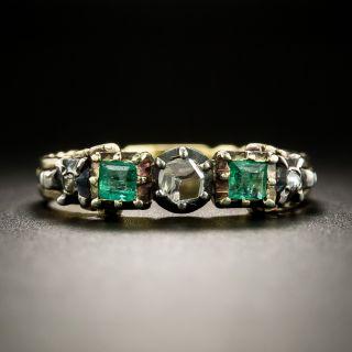 Georgian Style Diamond and Emerald Band Ring - 2