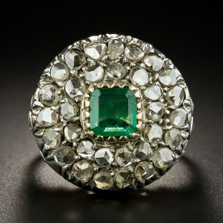 Georgian Style Emerald and Diamond Cluster Ring - 2