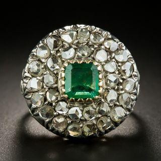 Georgian Style Emerald and Diamond Cluster Ring - 2
