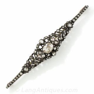 Georgian Style Rose Cut Diamond Bar Pin