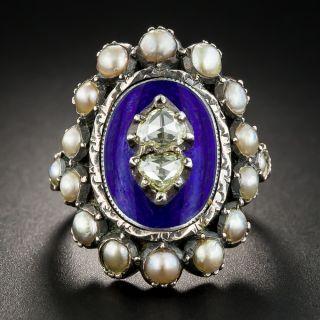Georgian Style Rose-Cut Diamond Pearl and Enamel Ring - 1