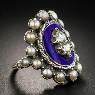 Georgian Style Rose-Cut Diamond Pearl and Enamel Ring