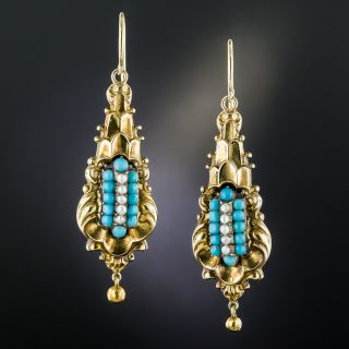 Georgian Turquoise And Seed Pearl Drop Earrings - 2