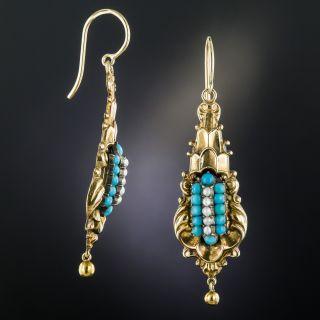 Georgian Turquoise and Seed Pearl Drop Earrings