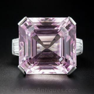 Giant Kunzite and Diamond Ring