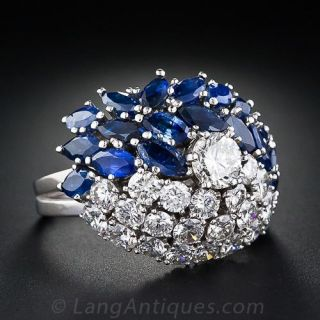 Glamorous Diamond and Sapphire Cocktail Ring