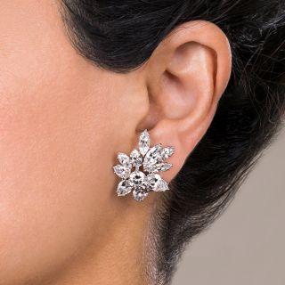 Glamorous Harry Winston Style Diamond Clip Earrings