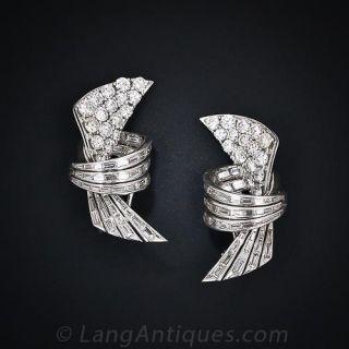 Glamorous Mid-Century Diamond Platinum Earrings - 1