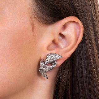 Glamorous Mid-Century Diamond Platinum Earrings