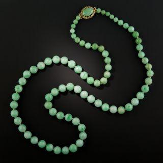 Mid-Century Graduated Jade Beads Necklace