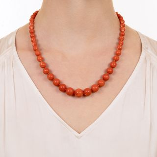 Graduating Coral Bead Necklace