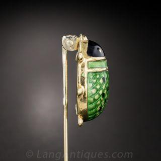 Green Lady Bug Stick Pin