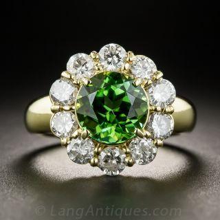 Green Tourmaline and Diamond Halo Ring - 1