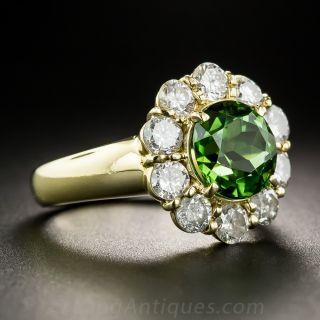 Green Tourmaline and Diamond Halo Ring