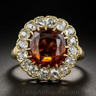 Hessonite Garnet and Diamond Victorian Ring