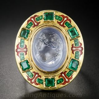 Holbeinesque Sapphire Carved Cameo Rennaissance Revival Ring - 1