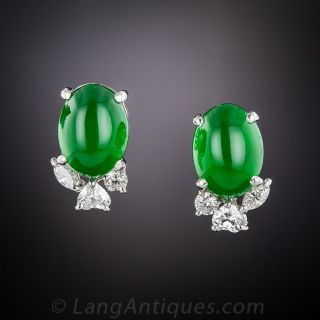 Imperial Jade and Diamond Earrings