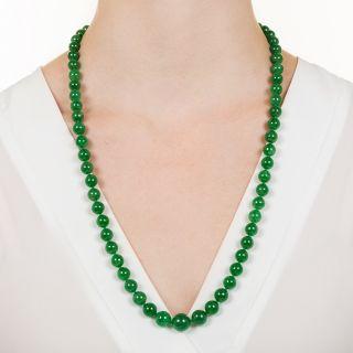 Imperial Natural Burmese Jade Bead Necklace