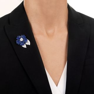 Invisible-Set Sapphire and Diamond Flower Brooch